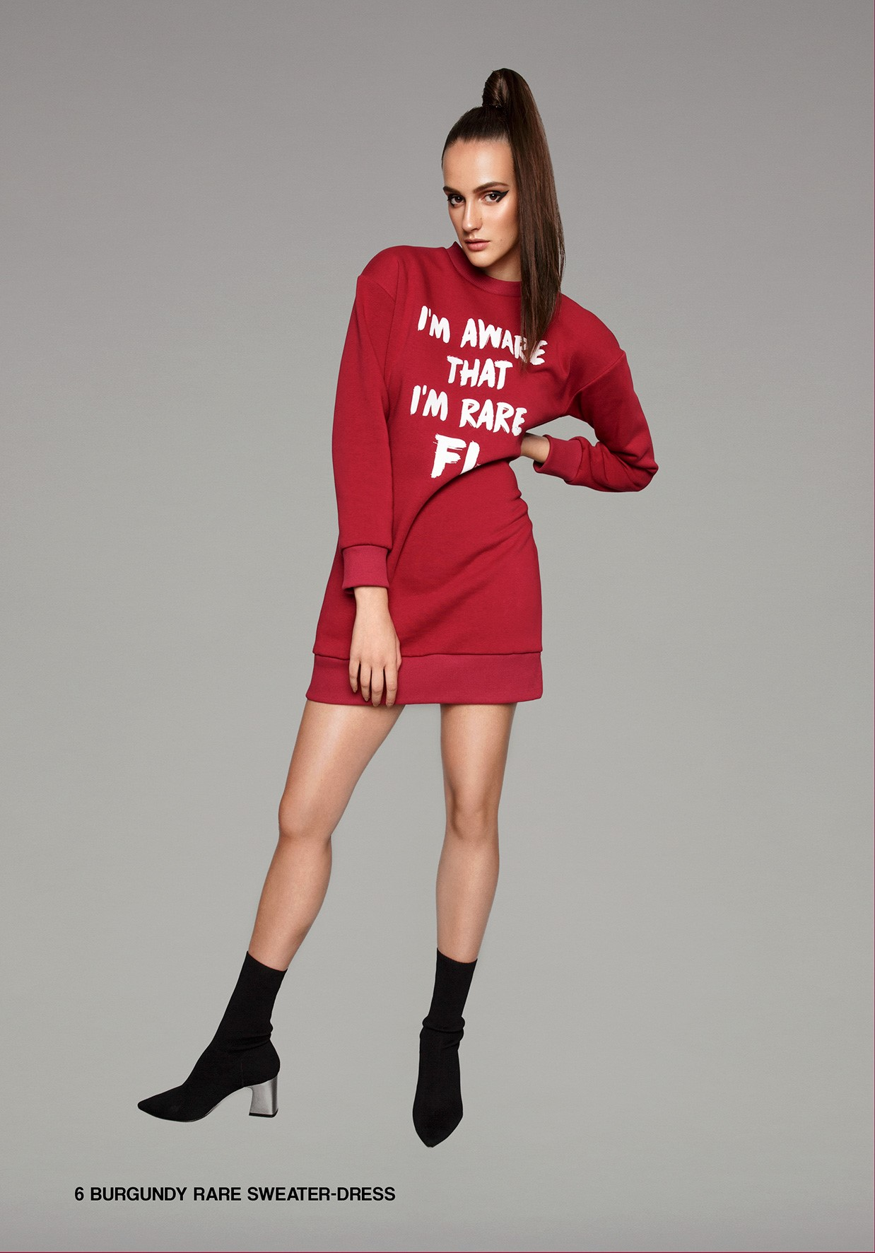 rare burgundy sweater dress