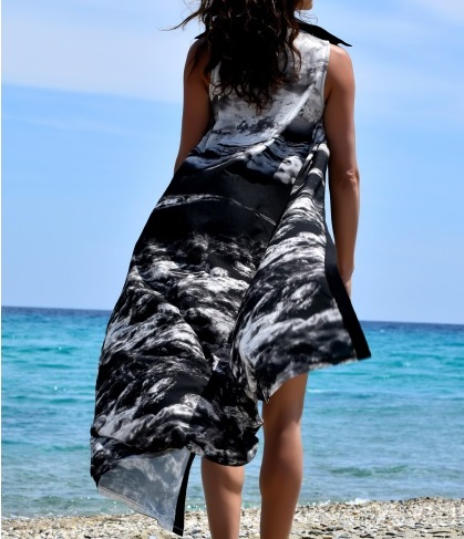 Black Aegean Maxi Shirt - Dress