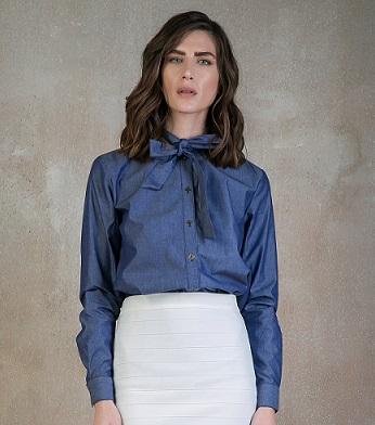 55858b2b212e Denim πουκαμισο με φιογκο - The Fashion Lab
