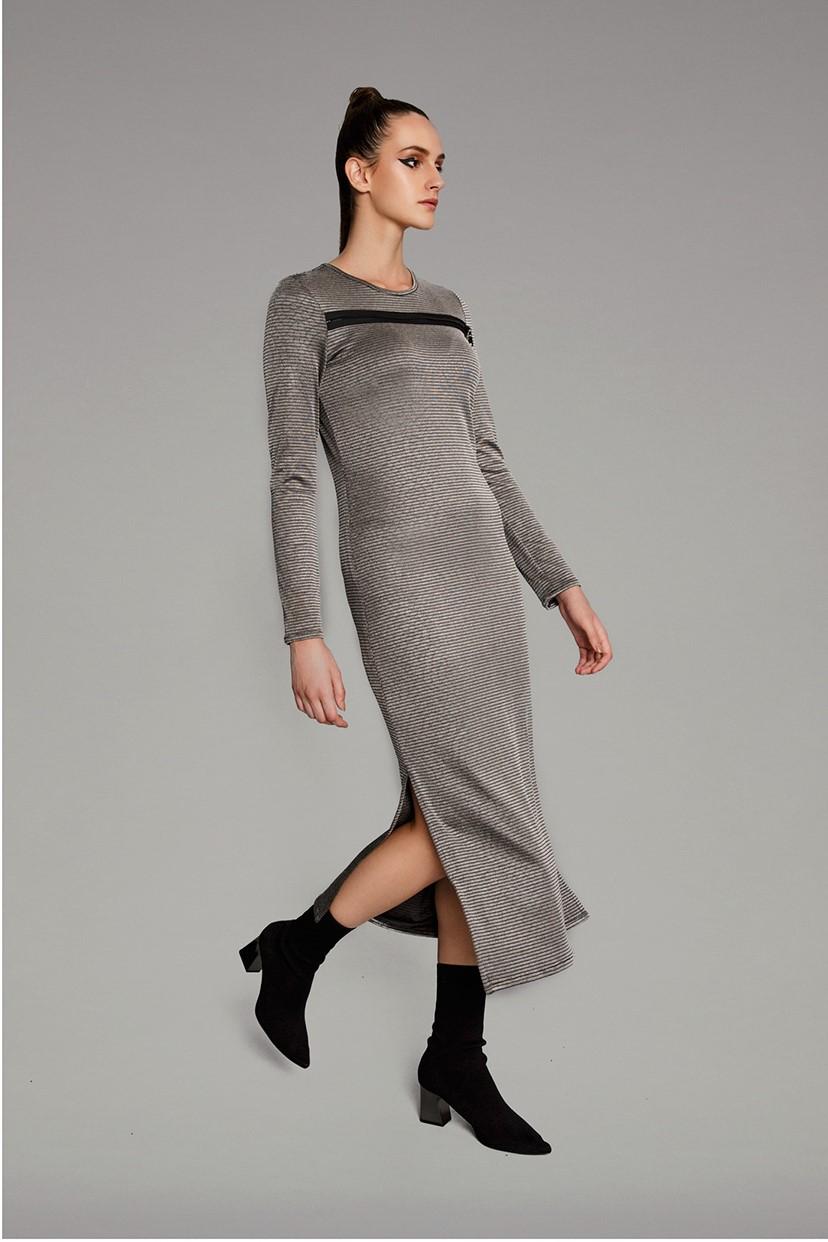 Metallic midi dress